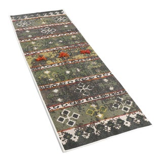 Tribal Green Multi-Colored Embroidered and Pom Cotton Rug - 2′ × 6′ For Sale