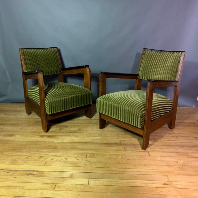 Pair 1940s Wenge Wood Armchairs, Corduroy & Rosewood For Sale - Image 11 of 11