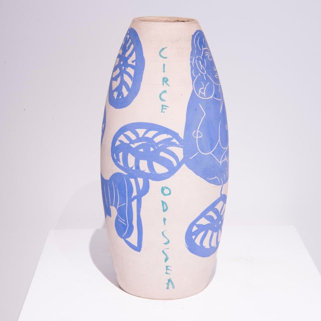 Antonio Zancanaro (1906-1985) Unique Vase with figurative drawings Enameled ceramic Italie, 1962 Signed and dated