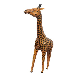 Painted Leather Giraffe Statue For Sale