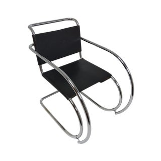 Mies Van Der Rohe Mr Lounge Chair Black Leather and Chrome For Sale