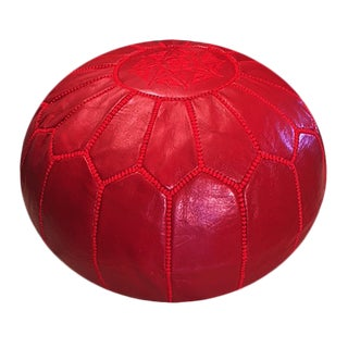 Ruby Red Pouf by Mpw Plaza (Stuffed), Moroccan Leather Pouf Ottoman For Sale