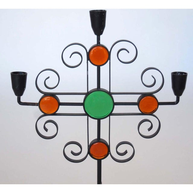 1960s Seven Enameled Steel and Glass Candelabra For Sale - Image 5 of 5