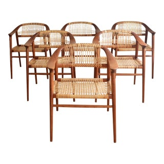 Bambi Chairs by Rolf Rastad & Adolf Relling for Gustav Bahus Teak & Cane Dining Chairs - Set of 6