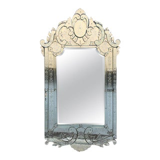 19th Large Antique Venetian Mirror For Sale