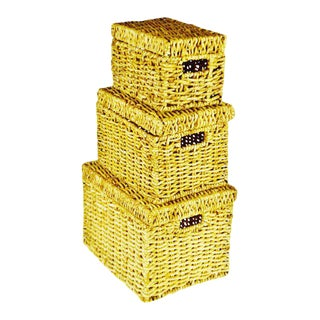 Wicker Nesting Storage Boxes - Set of 3 For Sale