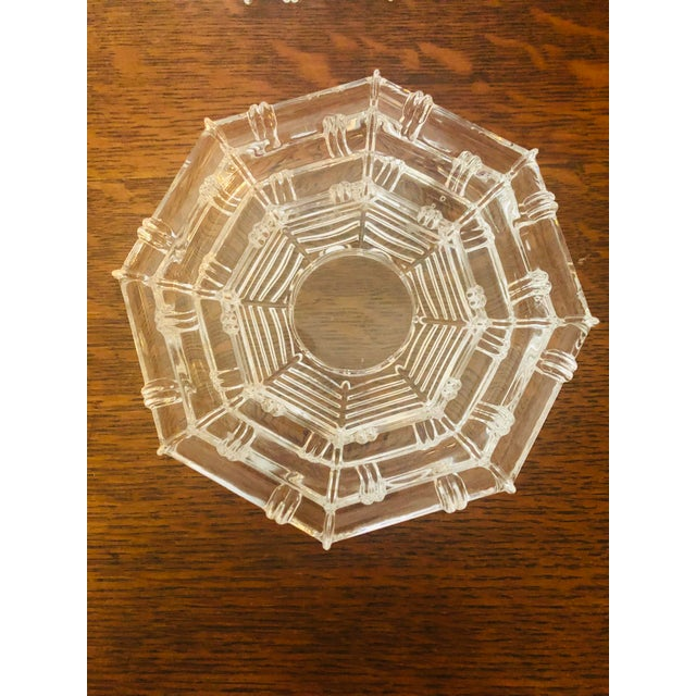 Vintage Glass Bamboo Pattern Tea Light Holders - a Pair For Sale - Image 4 of 8