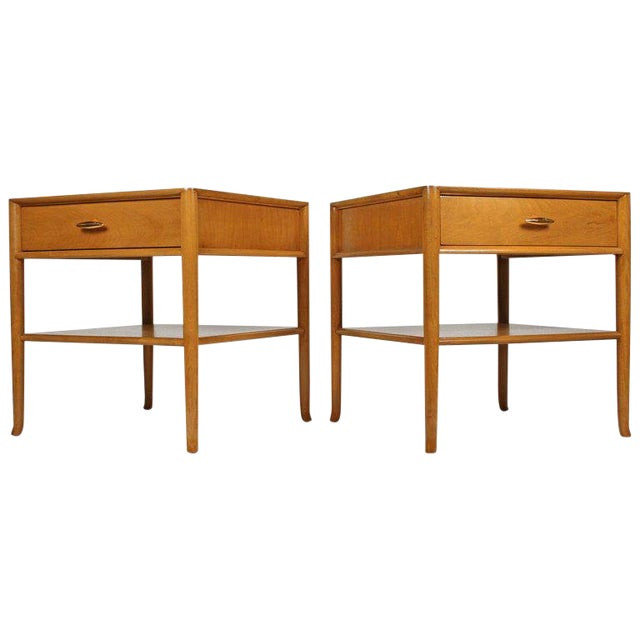 T.H. Robsjohn Gibbings for Widdicomb Bleached Walnut Nightstands - A Pair For Sale