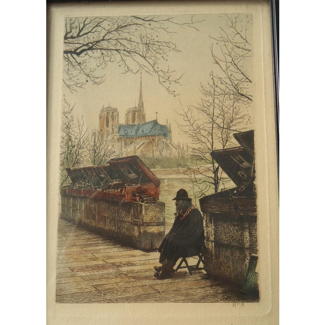 "French Antique ""Bouquiniste on the Seine"" Paris Engraving For Sale - Image 3 of 3"