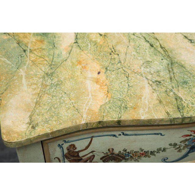 Green Venetian Hand-Painted Serpentine Commode For Sale - Image 8 of 10