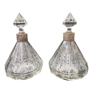 19th Century Sterling and Crystal Decanters - a Pair For Sale