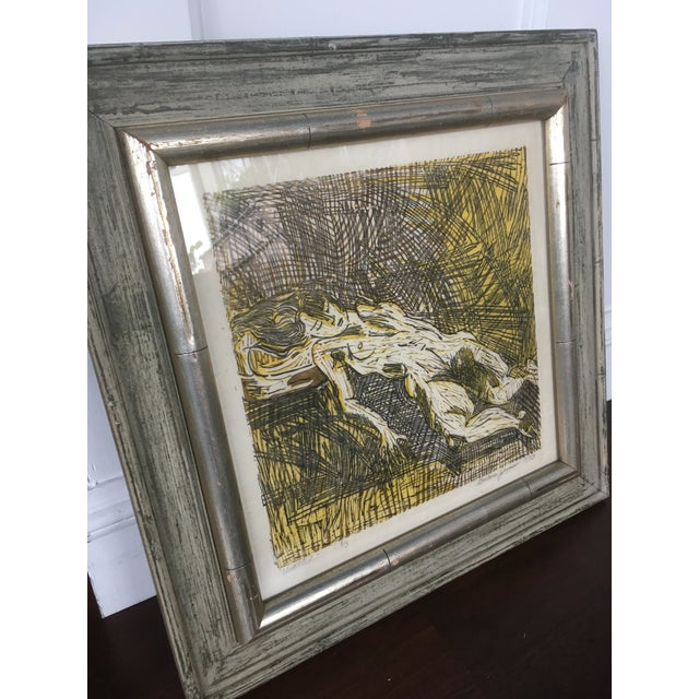 Vintage Mid-Century Abstract Nude Woman Signed Block Print Lithograph For Sale - Image 10 of 11