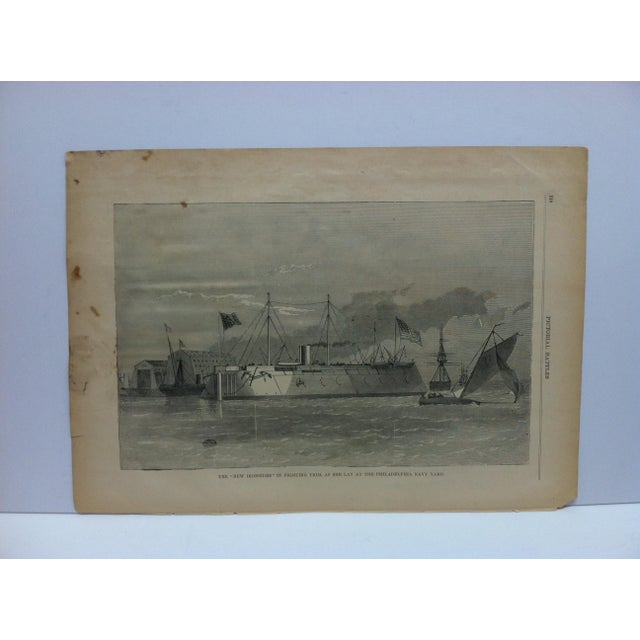 """Late 19th Century Antique """"The New Ironsides in Fighting Trim - as She Lay at the Philadelphia Navy Yard"""" Pictorial Battles of the Civil War Print For Sale - Image 4 of 4"""