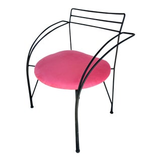 1985 Modern Pascal Mourgue Pink Upholstered Steel Twist Chair