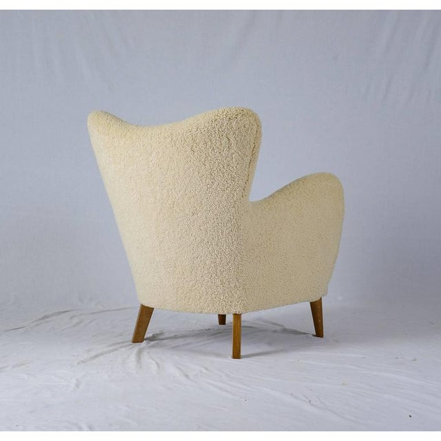Scandinavian Sheepskin Lounge Chair - Image 7 of 10
