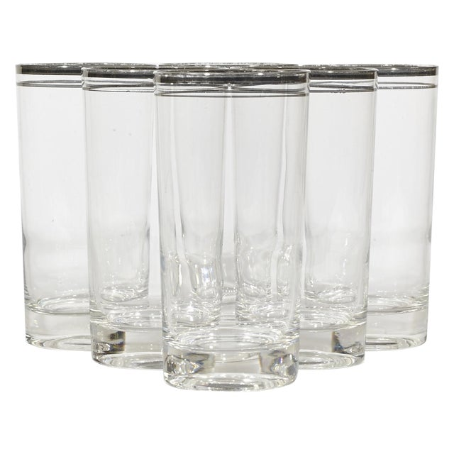 60's Double Banded Silver Tumblers - Set of 6 - Image 1 of 4
