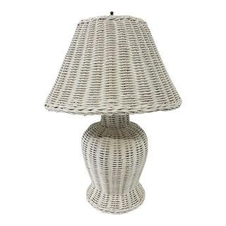 Petite White Wicker Lamp For Sale