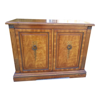 Art Deco Flame Mahogany Pop Up Bar Cabinet, Leaves Open For Sale
