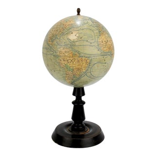 Antique French Terrestrial Globe on Wooden Stand by J. Forest of Paris For Sale