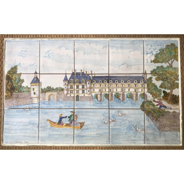 French 1980s French Handpainted Tile Table With French Chateau Chenonceau For Sale - Image 3 of 8
