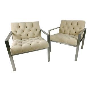 Harvey Probber Aluminum Lounge Chairs in Cream Velvet - a Pair For Sale