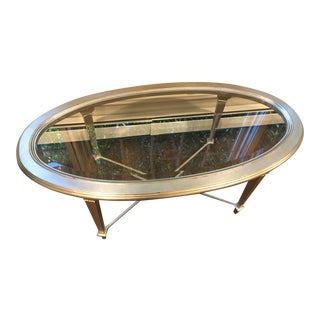 Transitional Hickory Oval Cocktail Table For Sale
