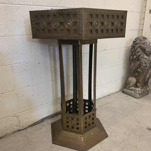 Boho Chic Unusual Medieval Standing Brass Planter or Bar For Sale - Image 3 of 13
