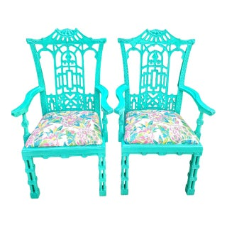 Custom Chinese Chippendale Painted Bright Blue Chinoiserie Pagoda Top Dining Room Side Chairs -A Pair For Sale