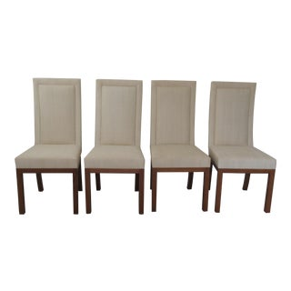 Contemporary High Backed Dining Chairs in Raw Silk- Set of 4 For Sale