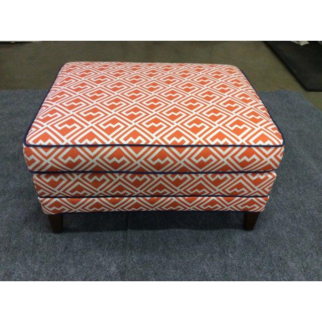 Contemporary Vintage Orange & White Ottoman For Sale - Image 3 of 8
