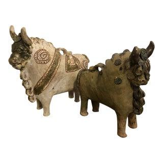 Vintage Mid-Century Torito De Pucara Peruvian Bull Vessels - A Pair