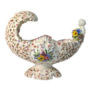 Italian Pierced Porcelain Curved Centerpiece With Cherub and Flowers For Sale