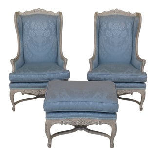 French Louis XV Style Carved Wing Chairs & Ottoman - 3 Pieces For Sale