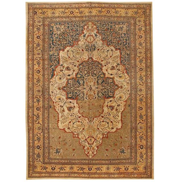 Exceptional Antique Persian Hadji Jalili Tabriz Carpet For Sale
