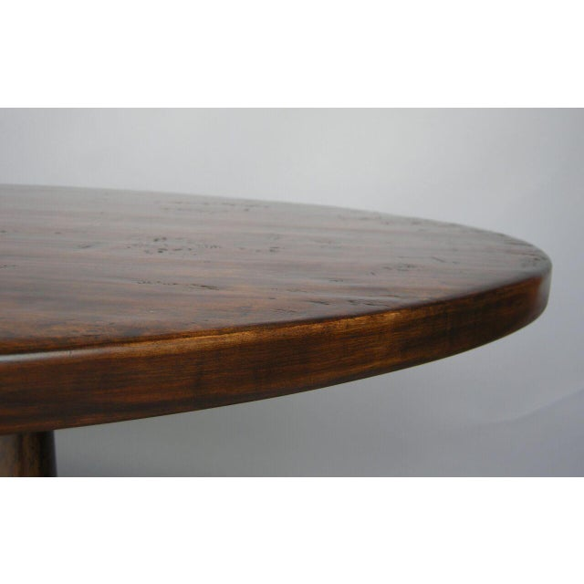 Custom Walnut Wood Oval Table With Wishbone Stretcher For Sale In Los Angeles - Image 6 of 6