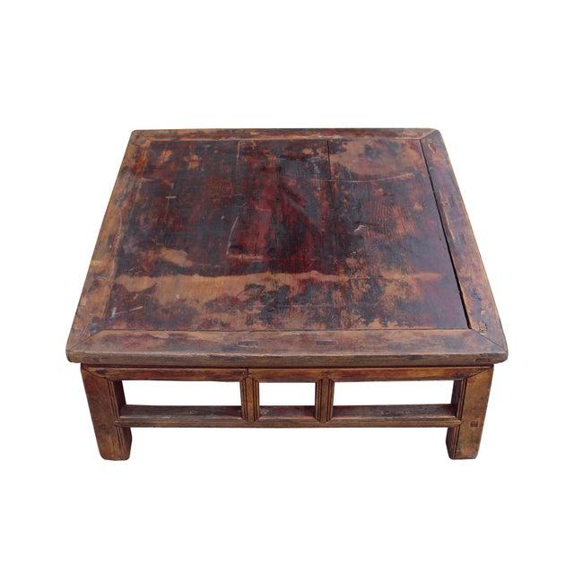 Rustic Brown Wood Coffee Table: Chinese Rustic Vintage Brown Square Wood Top Kang Coffee