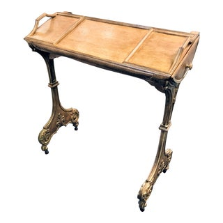Rustic Carved Beechwood Writing Table With 2 Side Drawers For Sale
