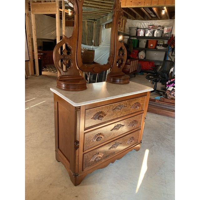 Brown Late 1800's Victorian Carved Mahogany White Marble Top Dresser With Tilt Mirror For Sale - Image 8 of 13