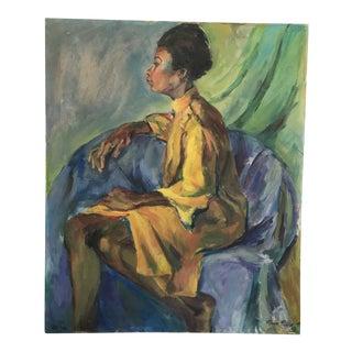 1960s Vintage Female Portrait Painting For Sale