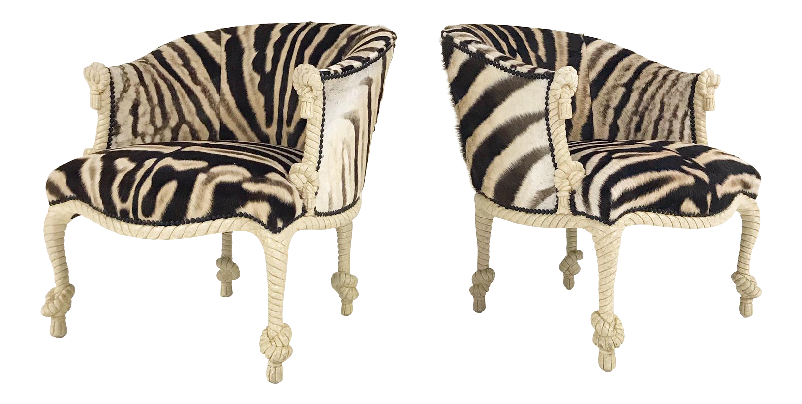 Vintage Napoleon III Style Twisted Rope And Tassel Carved Armchairs  Restored In Zebra   Pair