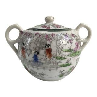 Vintage Porcelain Hand-Decorated Sugar Bowl For Sale