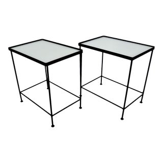 1950s Black Iron and Glass Occasional Tables - a Pair For Sale