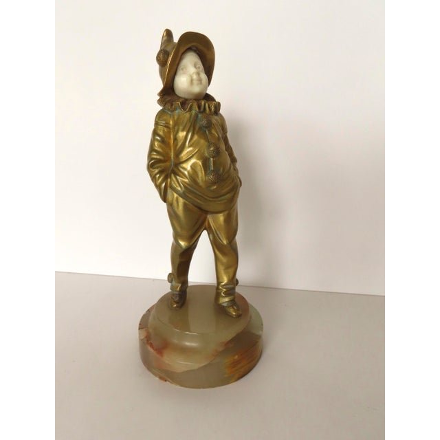 French Bronze Pierrot Boy Signed Sculpture by George Omerth For Sale - Image 10 of 10