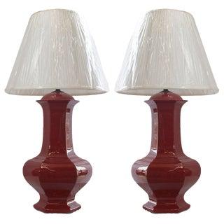 Pair of Reddish Brown Ceramic Lamps For Sale
