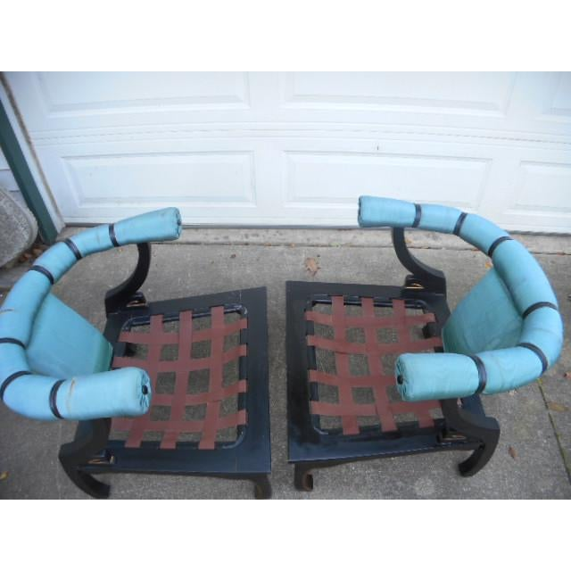 James Mont Style Asian Lounge Chairs - A Pair For Sale - Image 5 of 11