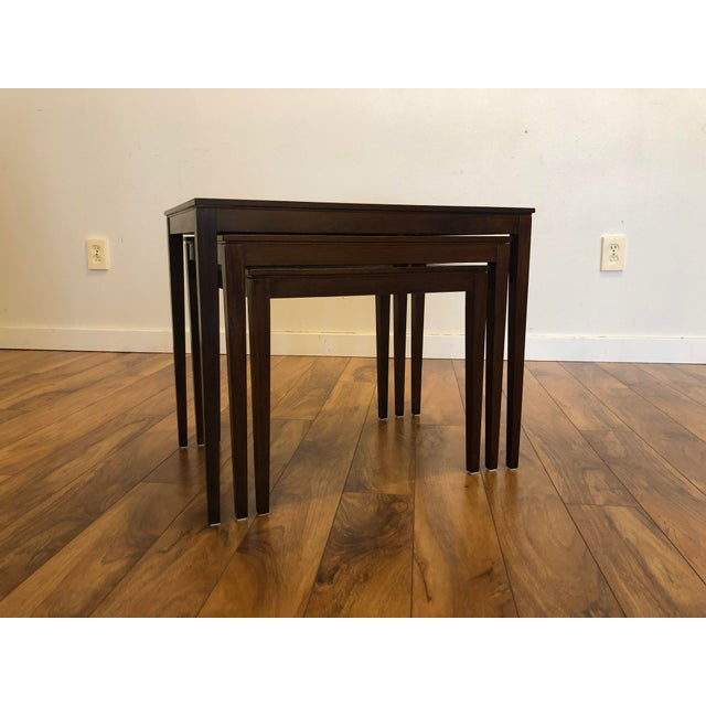 Wood Bent Silberg Rosewood Nesting Tables For Sale - Image 7 of 11