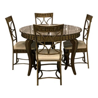 Contemporary Marble Dining Room Set - 5 Pieces For Sale