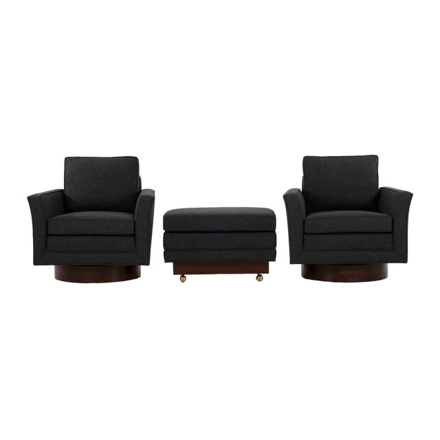 1950s Harvey Probber Lounge Chairs and Ottoman-Set of 3 For Sale