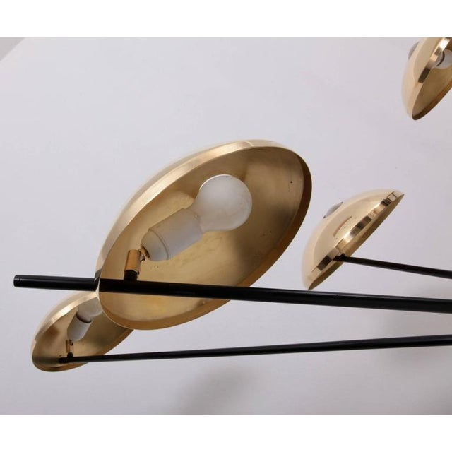 1 of 2 Huge Brass Sputnik Flush Mounts or Wall Lamps Attributed to Stilnovo For Sale - Image 4 of 8