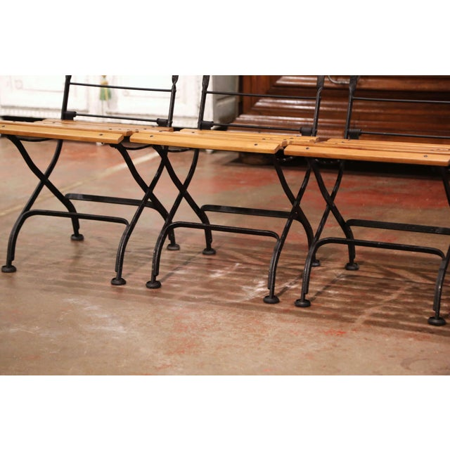 Metal Painted Wrought Iron and Teak Wood Folding Garden Chairs, Set of Four For Sale - Image 7 of 13